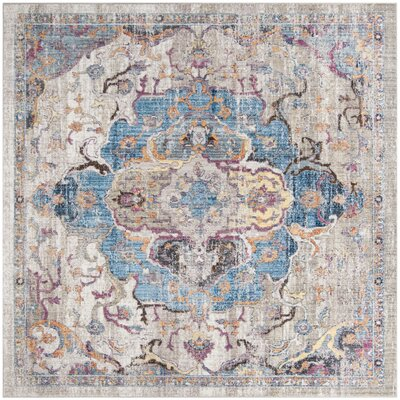 Arapaho Blue/Light Gray Area Rug Rug Size: Square 7