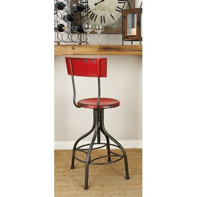 Lomita Adjustable Height Swivel Bar Stool Upholstery: Fire Engine Red