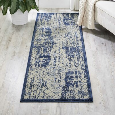 Casiodoro Ivory/Navy Area Rug Rug Size: Rectangle 22 x 76