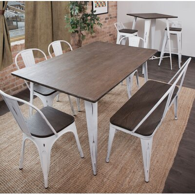 Dohosan 6 Piece Dining Set Finish: Vintage White/Espresso