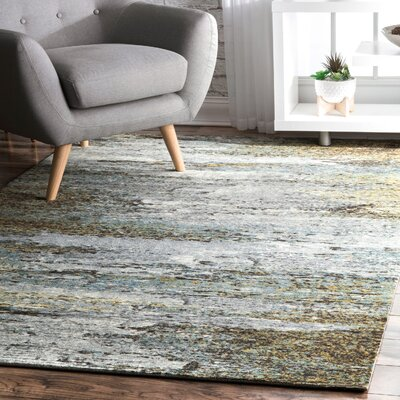 May White/Green Area Rug Rug Size: Rectangle 4 x 6