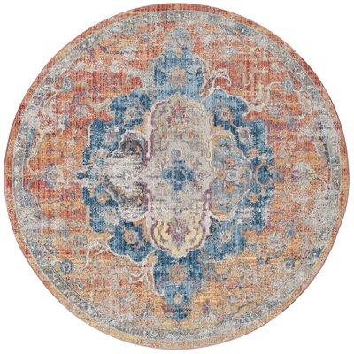 Arapaho Blue/Orange Area Rug Rug Size: Round 7