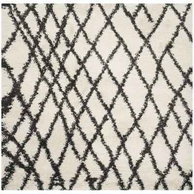 Malibu Ivory/Charcoal Area Rug Rug Size: Square 67