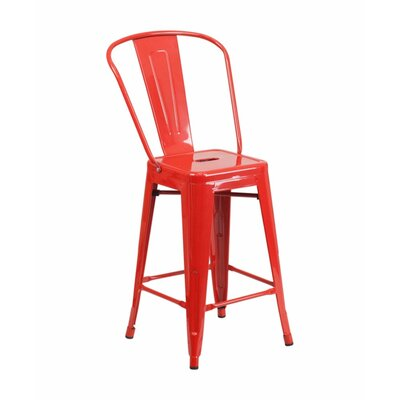 Jesse 24 Bar Stool Color: Red
