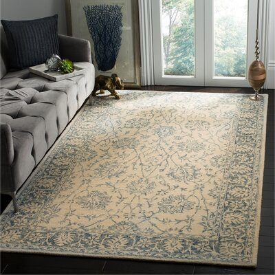 Baldwin Park Beige/Turquoise Area Rug Rug Size: Rectangle 51 x 76
