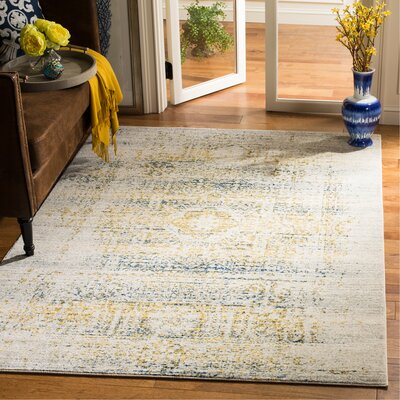 Baldwin Park Ivory/Blue Area Rug Rug Size: Rectangle 51 x 76
