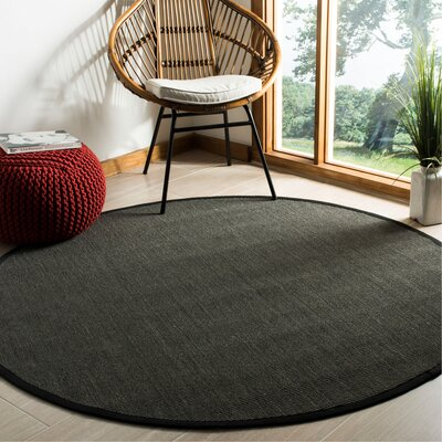 Anthracite Anthracite/Black Area Rug Rug Size: Round 6