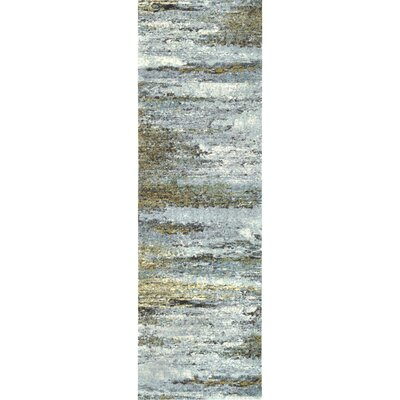 May White/Green Area Rug Rug Size: Runner 26 x 8
