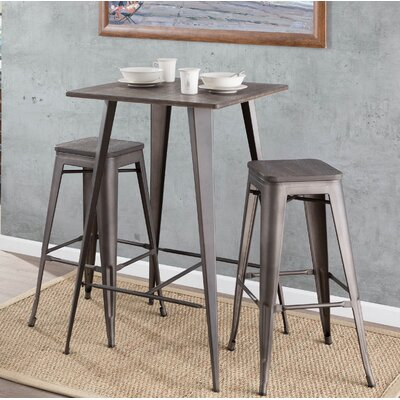 Claremont 3 Piece Pub Table Set Color: Antique / Espresso