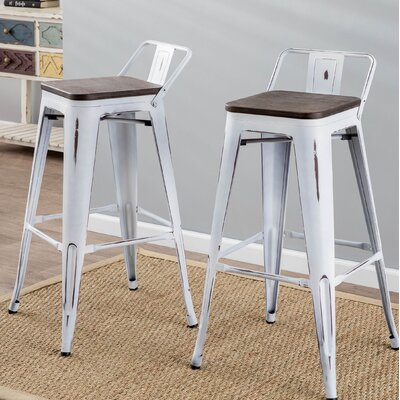 Claremont 30 Bar Stool Finish: White/Espresso