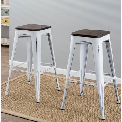 Claremont 30.25 Bar Stool Finish: Vintage White / Espresso