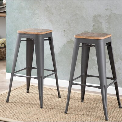 Claremont 30.25 Bar Stool Finish: Gray / Brown