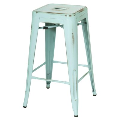 Ellery 26 Bar Stool Upholstery: Distressed Aqua
