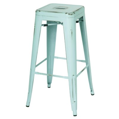 Ellery 30 Bar Stool Upholstery: Distressed Aqua