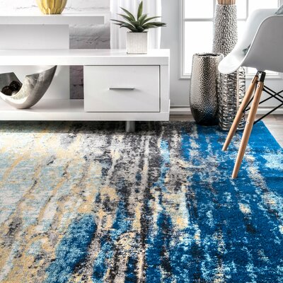 Stevensville Blue Area Rug Rug Size: Rectangle 9 x 12