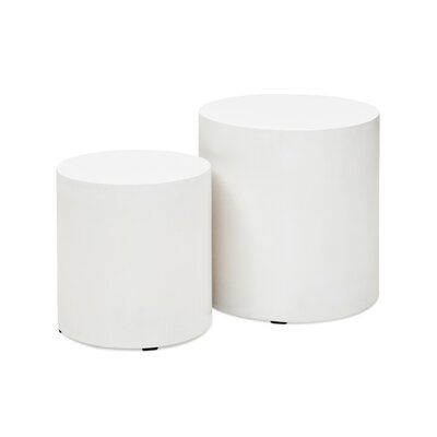 Agathla Una Pedestals End Table Set Color: White