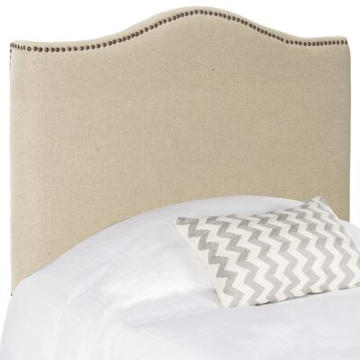 Laken Upholstered Panel Headboard in , Brass Size: Queen, Color: Taupe