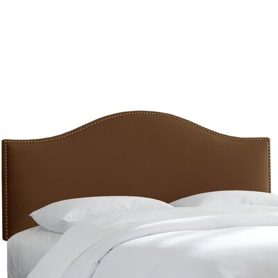 Doleman Nail Button Upholstered Panel Headboard Size: Queen, Color: Brown