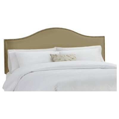 Doleman Nail Button Upholstered Panel Headboard Size: Full, Color: Khaki