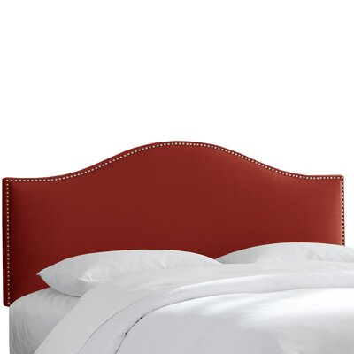 Doleman Nail Button Upholstered Panel Headboard Size: Full, Color: Red