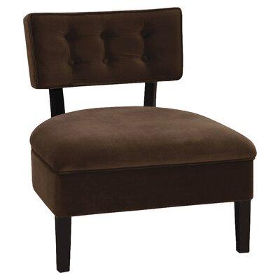 Elvie Slipper Chair Color: Chocolate Velvet Fabric