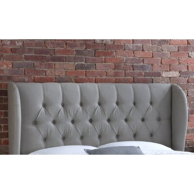 Stowmarket Tufted Diamond Upholstered Wingback Headboard Size: King, Upholstery: Grey