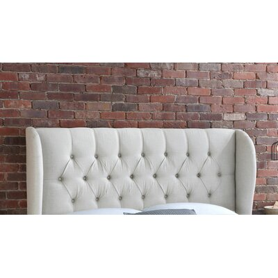 Stowmarket Tufted Diamond Upholstered Wingback Headboard Size: Full, Upholstery: Talc