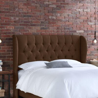 Stowmarket Tufted Diamond Upholstered Wingback Headboard Size: King, Upholstery: Linen Chocolate