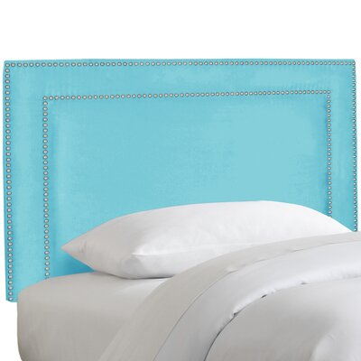 Andrade Nail Button Border Upholstered Panel Headboard Upholstery: Premier Azure, Size: Queen