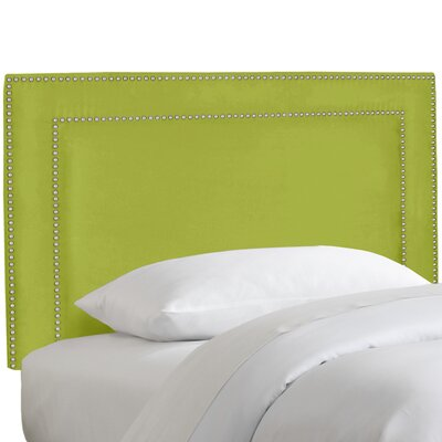 Patriot Nail Button Border Upholstered Panel Headboard Size: Twin, Upholstery: Premier Kiwi