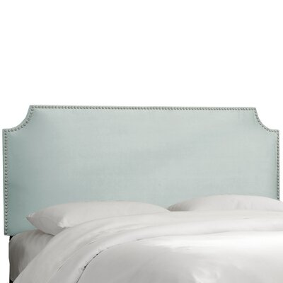 Alamak Velvet Notched Nail Button Upholstered Panel Headboard Upholstery: Velvet Pool, Size: King