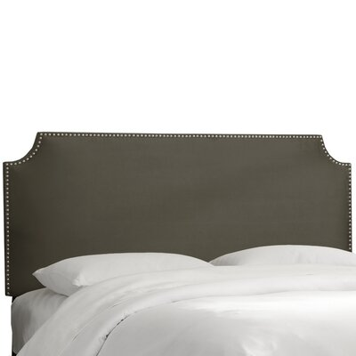 Alamak Velvet Notched Nail Button Upholstered Panel Headboard Size: King, Upholstery: Velvet Pewter