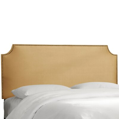 Alamak Velvet Notched Nail Button Upholstered Panel Headboard Size: Full, Upholstery: Velvet Honey