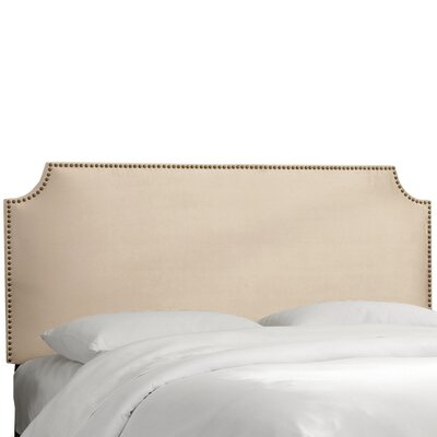 Velvet Notched Nail Button Upholstered Panel Headboard Size: Full, Upholstery: Velvet Pearl