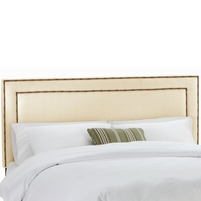 Alligood Nail Button Border Upholstered Panel Headboard Size: Full, Upholstery: Twill Natural