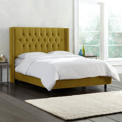 Brunella Upholstered Panel Bed Color: Mystere Macaw, Size: Queen
