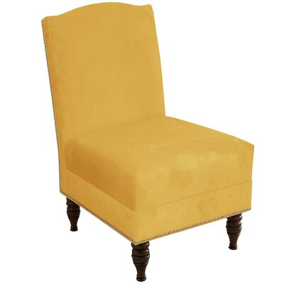 Deneuve Velvet Armless Nail Button Chair Color: Velvet Canary