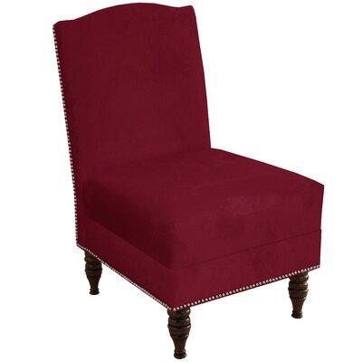 Deneuve Velvet Armless Nail Button Chair Color: Velvet Berry