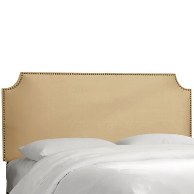 Velvet Notched Nail Button Upholstered Panel Headboard Upholstery: Velvet Buckwheat, Size: Twin