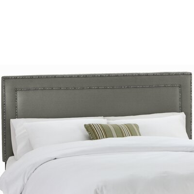 Twill Nail Button Border Upholstered Panel Headboard Upholstery: Twill Grey, Size: King
