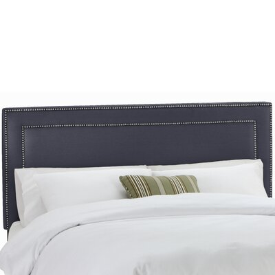 Twill Nail Button Border Upholstered Panel Headboard Upholstery: Twill Navy, Size: California King