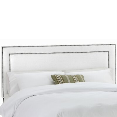 Twill Nail Button Border Upholstered Panel Headboard Size: Queen, Upholstery: Twill White