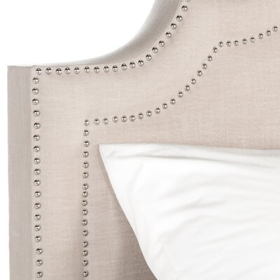 Dominic Upholstered Panel Bed Size: Full, Upholstery: Light Beige, Nailhead Finish: Silver