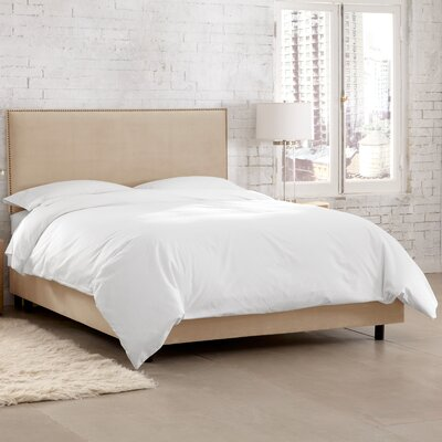 Doleman Traditional Upholstered Panel Bed Color: Velvet - Pearl, Size: Twin