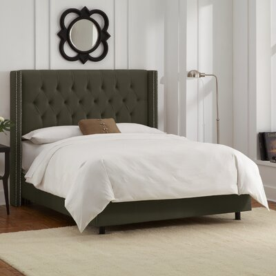 Grandville Upholstered Panel Bed Upholstery: Velvet Pewter, Size: Queen