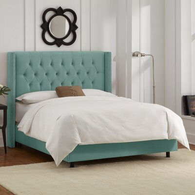 Allbright Upholstered Panel Bed Color: Velvet Caribbean, Size: Queen