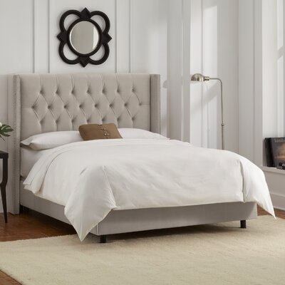 Allbright Upholstered Panel Bed Color: Velvet Light Grey, Size: Queen