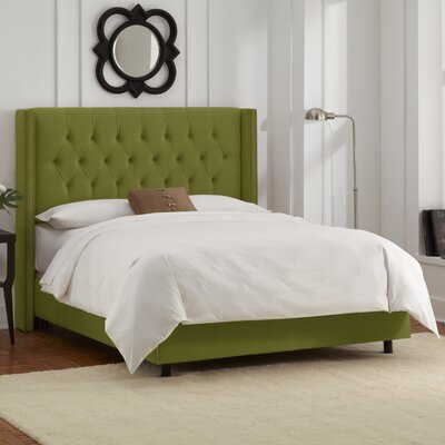 Grandville Upholstered Panel Bed Upholstery: Velvet Applegreen, Size: King