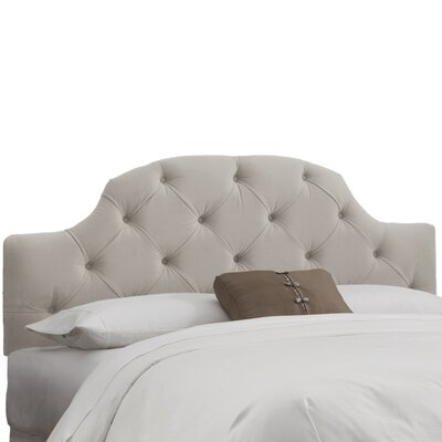 Velvet Tufted Upholstered Panel Headboard Upholstery: Velvet Light Grey, Size: Queen