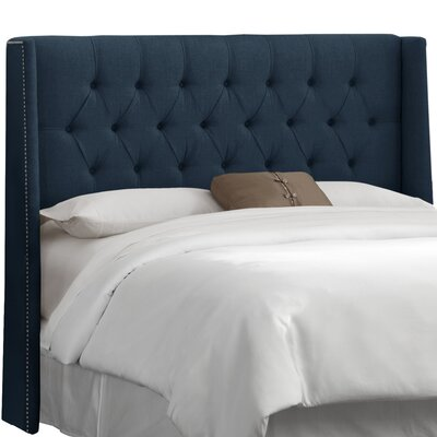 Elsa Upholstered Wingback Headboard Upholstery: Linen Navy, Size: California King